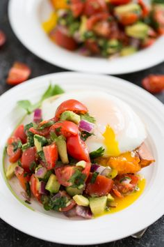 Paleo Power Meal - Sweet Potato, Poached Egg, Tomato, Cucumber, Avocado, Red Onion, Coriander, Lime Juice, Jalapeno