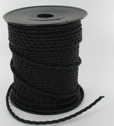 18/3 TWISTED BLACK CLOTH COVERED WIRE, SOLD BY THE FOOT.   $1.50/foot