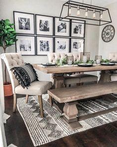Dining Room Design, Dining Room Table, Dining Room Decorating, Dinning Table Decor Ideas, Farm House Dinning Room, Dining Room In Kitchen, Dining Room Rugs, Farm Table Decor, Conservatory Dining Room