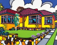 Suburban Exterior - by Howard Arkley 1951-99. Aerosol Art Series - Suburbia.