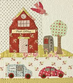 Tiny Town BOM- by Bunny Hill Designs - Complete pattern… Fabric Patch, Patch Quilt, Quilt Blocks, Applique Quilt Patterns, Embroidery Applique, Block Craft, Shabby Fabrics, Fabric Houses, Quilt Kits