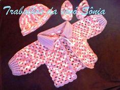 Trabalhos da vovó Sônia: Conjunto para bebê lilás rosa Nina - crochê