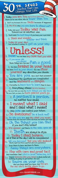 """30 Dr. Seuss Quotes You Should Never Forget: """"Today you are you, that is truer than true. There is no one alive who is youer than you. These wise words may seem silly and whimsical and, well, they are. But there's an important message that all teachers, students, parents, and other Edudemic readers should understand about this phrase from Dr. Seuss. It's about originality and personalized learning and being true to yourself and … you get the idea."""" Katie Lepi, Edudemic, 12/28/12"""