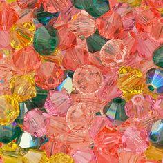 Swarovski Crystal, 4mm Bicone, English Rose