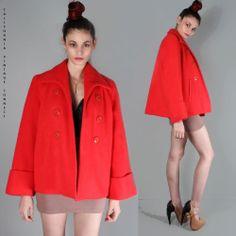 vtg 50s 60s wool Coral SWING TRAPEZE CAPE  COAT rockabilly mod dress jacket L