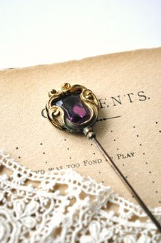 victorian hat pins   Antique Hat Pin Victorian Art Nouveau Brass Purple Amethyst Faceted ...