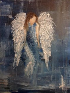 Bild von www. Angel Wings Painting, Angel Artwork, Acrylic Painting Canvas, Diy Painting, Watercolor Paintings, Texture Art, Texture Painting, Angel Crafts, Painting People