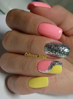 90 Perfect Nail Art Designs and Colors for Summer Funky Nail Designs, Creative Nail Designs, Nail Art Designs, Pretty Nails, Cute Nails, Nagel Hacks, Finger Nail Art, Funky Nails, Glitter Nail Art