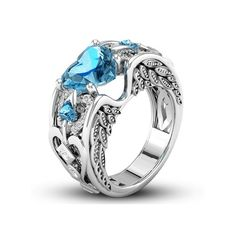 TFR Jewel 925 Sterling Silver Heart Engrave Tree Leaves Rings Jewelry for Women Wedding Engagement Rings