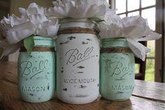 Shabby Chic Beach Wedding Decor - Set of mixed Mason Jars - Light Aqua on Etsy, $28.00