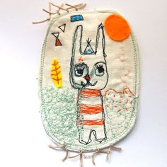 Embroidered drawing on linen - Jess Quinn
