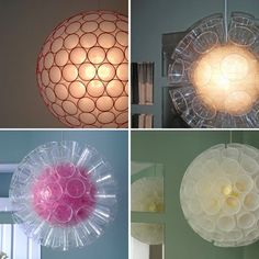 plastic cup chandelier, super easy too! Just take regular cups, about 30-50. (depending on size) And staple them together in rings. Once half is completed stuff with Christmas lights and finish, leaving room for an out-let.