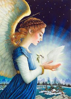 Archangel Haniel - the angel of moonlight, healing, feminine energy, purity Christmas Angels, Christmas Art, Christmas Paintings, I Believe In Angels, Angels Among Us, Angels On Earth, Angel Pictures, Angels In Heaven, Guardian Angels