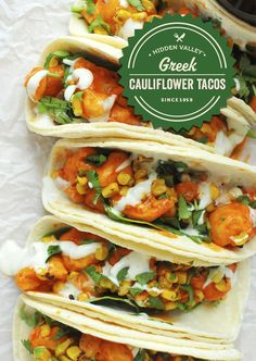 Buffalo cauliflower tacos that will make you never eat tacos without ranch again.ly/ Buffalo cauliflower tacos that will make you. Tasty Vegetarian Recipes, Vegan Dinner Recipes, Vegan Dinners, Veggie Recipes, Mexican Food Recipes, Whole Food Recipes, Chicken Recipes, Cooking Recipes, Healthy Recipes
