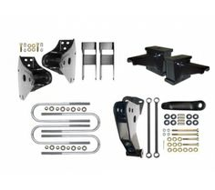 """http://iconvehicledynamics.com/shop/286-thickbox/1999-2004-ford-super-duty-f250-f350-45-hanger-system.jpg Best hanger kit out there 4.5""""  need adjustable trac bar too"""