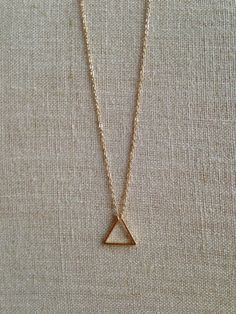 Minimalist Shiny Gold Triangle Charm on a 16 inch Delicate Chain