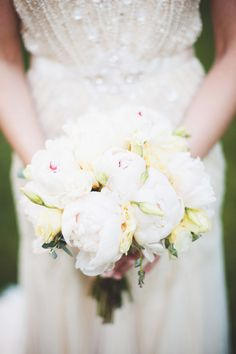 white peony wedding bouquet // photo by First Mate Photo Co. // flowers by Madison Floral // view more: http://ruffledblog.com/elegant-massachusetts-wedding