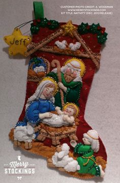 Customer photo sent to us by A. Looks gorgeous. Christmas Stocking Kits, Felt Christmas Stockings, Felt Stocking, Christmas Nativity, Christmas Time, Christmas Ornaments, Felt Ornaments, Holiday Crafts, Christmas Decorations
