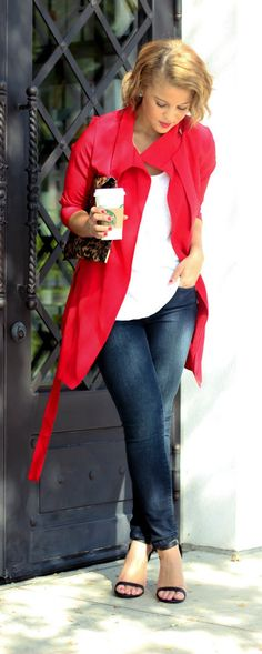 Jubilant Red Belted Trench Coat http://rstyle.me/n/ndk7ur9te