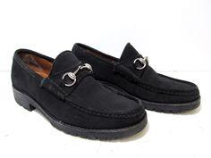 4218c2a9c Gucci Classic Black Suede Men's Lug Sole Horsebit Loafer Shoes Size 8D # horsebit #loafer