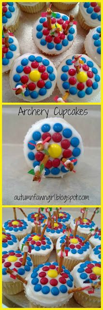 Archery cupcakes. I have never seen those before but they look good!!