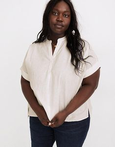 (Re)sponsible Lakeline Popover Shirt Plus Size Stores, White Shirts Women, Denim Shoes, S Man, Madewell, Organic Cotton, Dressing, Things To Come, Sleeves