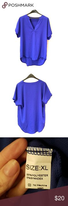 🍂🍁🍃Beautiful Cobalt Blue Tunic🍃🍁🍂 Beautiful blue chiffon tunic style blouse. Perfect for layering for any season! V-neck and flutter sleeves. New. Never worn. Macy's Tops Blouses