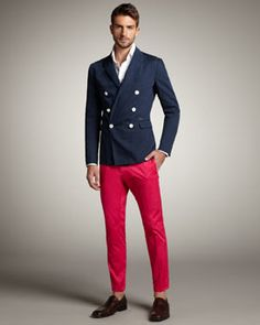 burgundy pants and blue shirt - Google Search | Men Suits ...