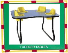 Daycare Furniture Direct  Toddler Table and Play & Feed Tables with Seats built in for nursery and Daycare.  4 Seat