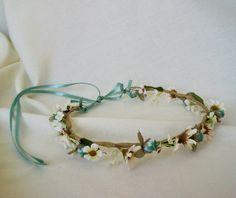 Bridal Flower Crown Hair Wreath Boho Fashion Head piece aqua blue Wedding Accessory Headpiece. $32.00, via Etsy.