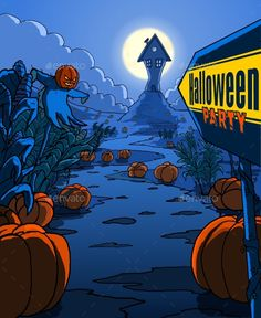 Halloween Party Illustration Poster