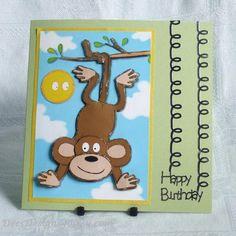 Handmade Birthday Card, Monkey Swinging £1.75