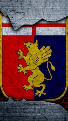 Genova, 4k, arte, Serie A, calcio, logo, club di calcio, Genoa CFC, struttura del metallo