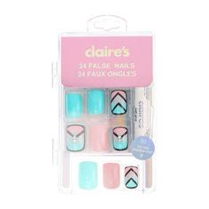 Mint and Pink Outlined False Nails, Claire's Fake Nails, Claire's Nails, Fake Nails For Kids, Nail Art For Girls, Natural Fake Nails, Short Fake Nails, Stick On Nails, Kiss Nails, Glue On Nails