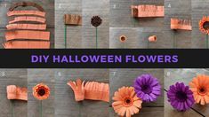 Learn how to make crepe paper gerbaras, crepe paper roses, crepe paper rose buds and crepe paper leaves in this fun and detailed step-by-step tutorial. Crepe Paper Flowers Tutorial, Crepe Paper Roses, Tissue Flowers, Paper Flowers Diy, Diy Paper, Paper Crafts, Homemade House Decorations, Diy Halloween Decorations, Halloween Diy