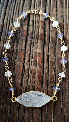 Gold Druzy And Gemstone Bracelet Multi Gemstone Bracelet