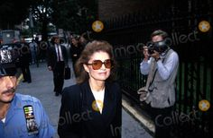 Jacqueline Kennedy Onassis leaves funeral service for Stephen Smith, on August 21, 1990 at St. Thomas More's Church, in NYC.