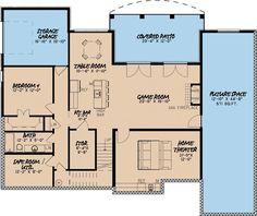 European Style House Plan - 4 Beds 3.5 Baths 4035 Sq/Ft Plan #923-3 Floor Plan - Lower Floor Plan - Houseplans.com