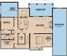 European Style House Plan - 4 Beds 3.5 Baths 4035 Sq/Ft Plan #923-3 Floor Plan - Lower Floor Plan - Houseplans.com