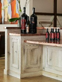The copper countertops--wine bar in the basement