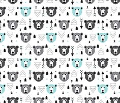 Geometric grizzly bear woodland illustration pattern fabric by littlesmilemakers on Spoonflower - custom fabric http://www.spoonflower.com/fabric/3364419
