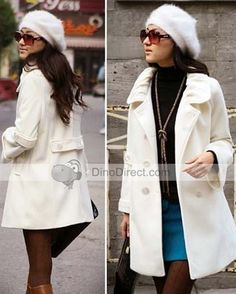 Women Cashmere Double Breasted Coat Overcoat