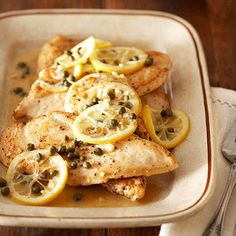 Chicken Picatta (take out butter and sub chicken broth for water with salt free seasoning)