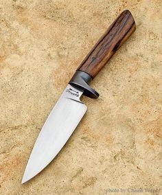 """hunting knife, custom knife, handmade knife - 4.5"""" 1084 blade, blued O1 guard, giraffe bone handle"""