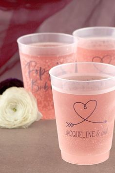 Pop the bubbly and share drinks and good times with these adorable and customizable cocktail cups! Spring Party, Spring Wedding, Party Themes, Party Ideas, Heart With Arrow, Party Cups, Wedding Napkins, For Your Party, Ink Color