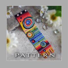 Peyote Beading Pattern : Rainbow Bubbles Bracelet Cuff - Instant Download