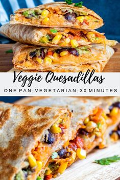These Vegetarian Quesadillas are the perfect quick 30 minute one pan dinner or lunch recipe. Filled with sweet potato black beans avocado corn peppers and cheese these are super tasty and healthy. Perfect for both kids and adults! Easy Dinner Recipes, Easy Meals, Dinner Ideas, Dinner Recipes With Avocado, Easy Vegitarian Recipes, Super Food Recipes, Quick Food Recipes, Recipes For Lunch, Kid Meals