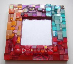 Mini Mosaic Mirror Red Aqua Purple Orange by GeminiMoonMosaics, 27.00