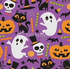 Here's another halloween inspired print and pattern for tomorrow's celebration. A vector illustration of retro theme haunted halloween seamless pattern background. This file contains a AI10 EPS file with a high resolution JPG.