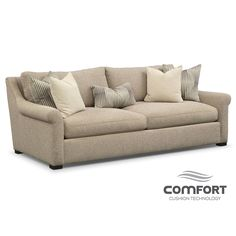 Mother-Approved. The Robertson Comfort sofa from Ultimate Comfort by Kroehler™ has just the kind of timeless good looks and long-lasting construction that even a mother would approve of. Gently sloped and subtly rolled arms are as warm and inviting as the creamy oatmeal-colored upholstery. This furniture collection is made by hand with reversible cushions for convenience and durability.